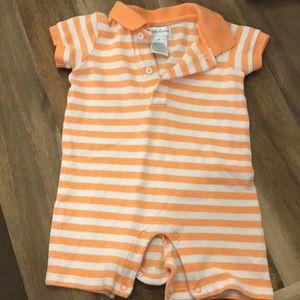 Ralph Lauren orange  and white stripe onesie polo
